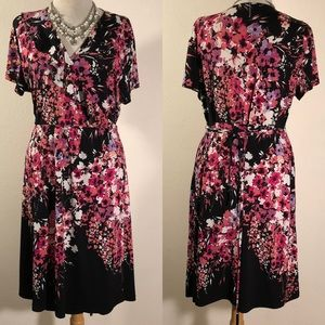 [Apt 9] Floral wrap dress w ruffle neckline sz XL